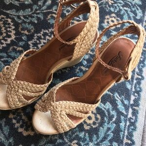 LUCKY BRAND braided metallic front and jute wedge